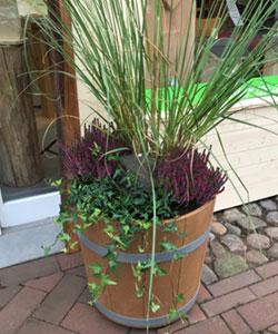 Öko-Blumenkübel Schökü-50, herbstlich bepflanzt von Lichtblick Wahlde